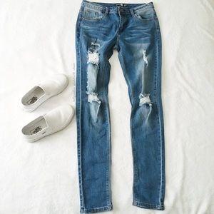 Boohoo Mid Rise Distressed Leg Skinny Jeans